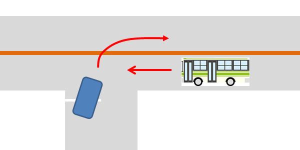 バスの前を平然と横切る車